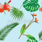 Tropical Plants Seamless Vector Pattern Design