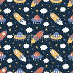 Raketen und Wolken Nahtloses Vektor Muster