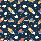 Rockets And Clouds Seamless Vector Pattern Design