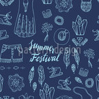 Boho Festival Seamless Vector Pattern Design