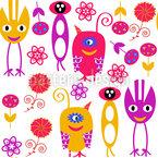 Monster Und Blumen Musterdesign