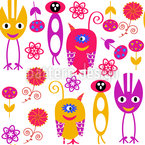 Monsters And Flowers Seamless Vector Pattern Design