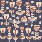 Russische Folklore Blumen Nahtloses Vektormuster