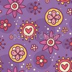 Sonnenuntergang Blumen Doodles Nahtloses Muster