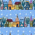 Winter-Häuser Nahtloses Vektormuster
