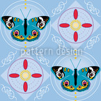 Peacock Butterfly Blue Seamless Vector Pattern Design