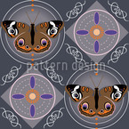 Peacock Butterfly Grey Vector Ornament