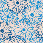 Hand Drawn Daisies Seamless Vector Pattern Design