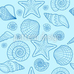 Concha de mar y estrellas de mar Estampado Vectorial Sin Costura