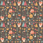 Baby Fox In The Forest Seamless Vector Pattern Design