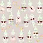 Pineapples In Summer Seamless Vector Pattern Design