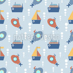 Ships and Submarines Seamless Pattern