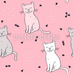 Smiling Cat Seamless Vector Pattern Design