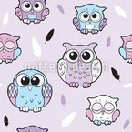 Sleep Little Owl Seamless Vector Pattern Design