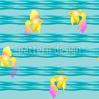 Goldfische auf Wellen Nahtloses Vektormuster
