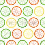 Leckere Zitronen Scheiben Nahtloses Vektormuster