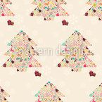 Decorated Christmas Trees Seamless Vector Pattern Design