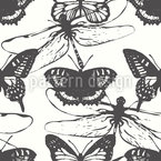 Schmetterlinge und Libellen Nahtloses Vektormuster