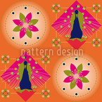 Peacock and Blossoms Orange Seamless Vector Pattern Design