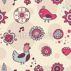 Pombas E Pássaros Cantivos Design de padrão vetorial sem costura