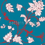 Asian Flora Seamless Vector Pattern Design