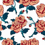 Roses In Bloom Seamless Vector Pattern Design