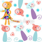 Cat Puppets Repeating Pattern