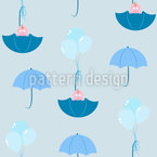 Babies And Umbrellas Seamless Vector Pattern Design