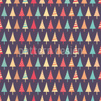 Monochrome Christmas Trees Repeat Pattern