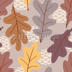 Oak Leaves Seamless Vector Pattern Design