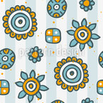 Doodle Blumen auf Streifen Nahtloses Vektormuster