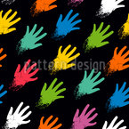 Hands Dipped In Paint Vector Pattern