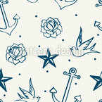 Nautic Tattoos Seamless Vector Pattern Design