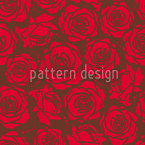 Rose Blossoms Rojo Estampado Vectorial Sin Costura