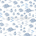 Mediterranean Sea Fishes Seamless Vector Pattern Design