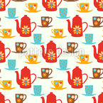 Retro Tea Time Seamless Vector Pattern Design
