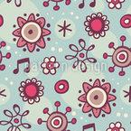 Flores Musicais Design de padrão vetorial sem costura