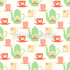 Sweet Sixties Tea Time Seamless Vector Pattern Design