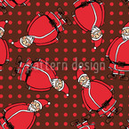 Dotty Santa Brown Seamless Pattern