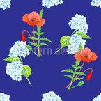 Hortensien und Mohnblumen Nahtloses Vektormuster