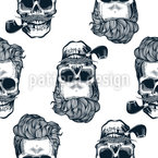 Smoking Skulls Seamless Vector Pattern Design