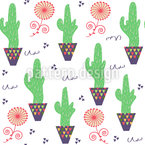 Cactus Pot Seamless Vector Pattern Design
