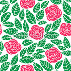 Moderne Rosen und Blätter Nahtloses Vektormuster