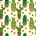 Kaktus Köpfe Vektor Ornament