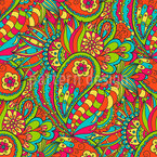 Florales Paisley Doodle Nahtloses Vektor Muster