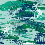 Inselparadies Grün Nahtloses Vektormuster