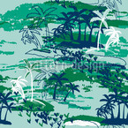 Paradise Island Green Seamless Vector Pattern Design