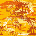 Paradise Island Yellow Seamless Vector Pattern Design