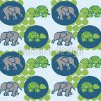 Schildkröten und Elefanten Nahtloses Vektormuster