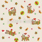 Spielende Weihnachts Hunde Nahtloses Vektormuster
